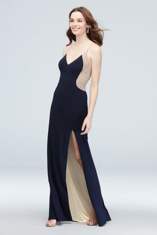 Long Sheath Spaghetti Strap Dress - Xscape