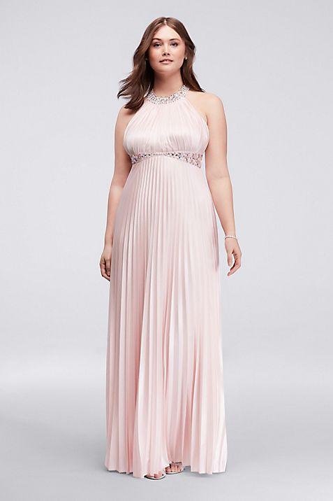 Strappy Back Pleated Halter Plus Size Prom Dress | David\'s Bridal