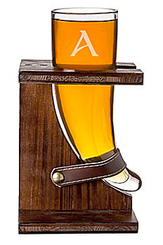 Personalized Viking Beer Horn with Rustic Stand 2277