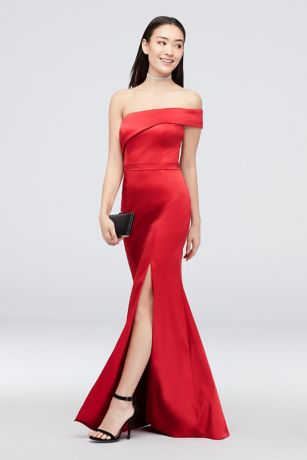 0fe03d8da14 Asymmetrical One Shoulder Satin Mermaid Gown