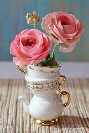 Tea Time Whimsy Ceramic Bud Vase Set