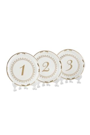 Tea Time Vintage Plate Table Numbers Set of 6