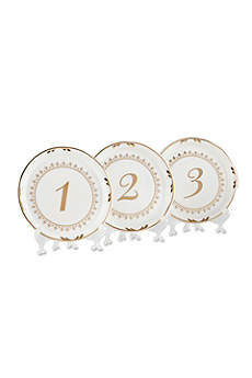 Tea Time Vintage Plate Table Numbers Set of 6