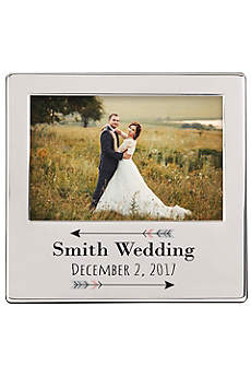 Personalized Arrow Engraved Silver Picture Frame