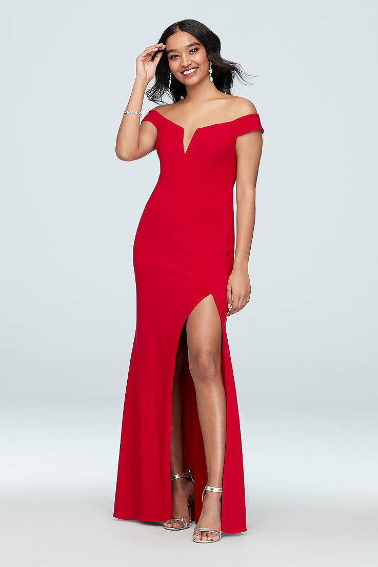 478d304991 Long Sheath Off the Shoulder Dress - Xscape