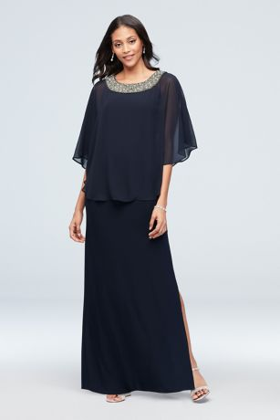 Jersey A-Line Capelet Dress with Beaded Neck