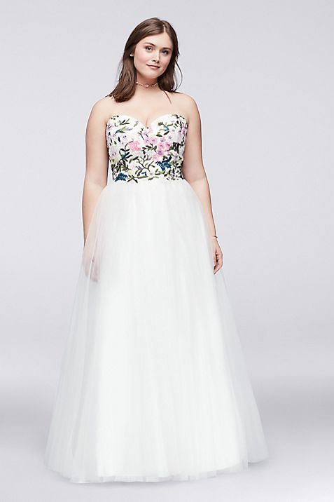 Embroidered Plus Size Ball Gown with Lace-Up Back | David\'s Bridal