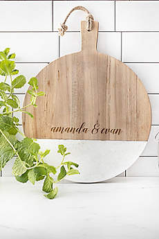 Personalized Acacia and Marble Round Bread Board