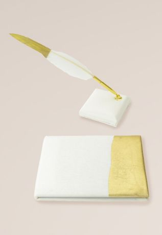 Gold Foil Dipped Guest Book and Feather Pen Set