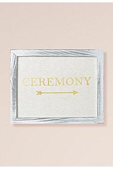 Gold Foil on Linen Ceremony Sign Decoration 25158