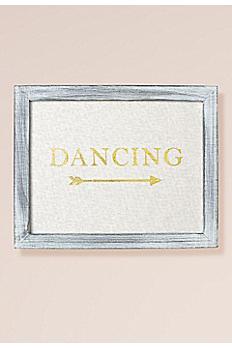 Gold Foil on Linen Dancing Sign Decoration 25159