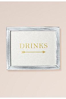 Gold Foil on Linen Drinks Sign Decoration 25160