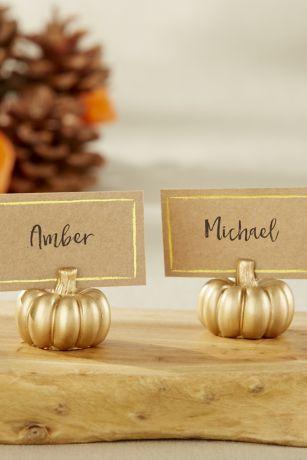 Golden Pumpkin Place Card Holders