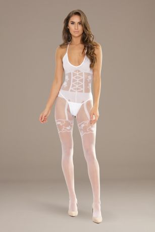 Coquette Opaque and Sheer Crotchless Bodystocking