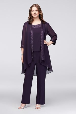 3bdcb60189d Chiffon Plus Size Pantsuit with High-Low Jacket