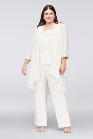 Plus Size Chiffon Pantsuit with High-Low Jacket