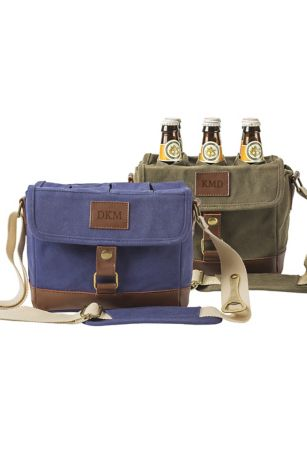 Personalized Insulated Waxed Canvas Bottle Carrier