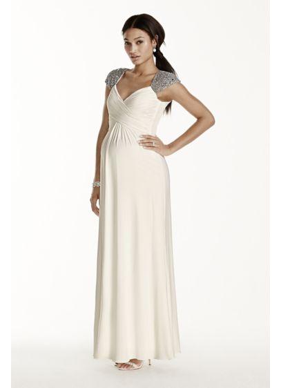 Beaded Cap Sleeve Long Jersey Maternity Dress | David\'s Bridal