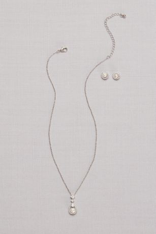 Cubic Zirconia Pave Pearl Necklace and Earring Set