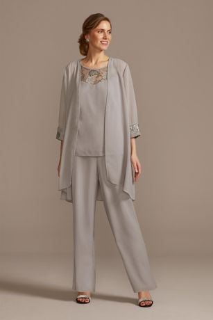 Lace-Detailed Georgette Three-Piece Pantsuit