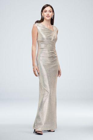 Long Sheath Cap Sleeves Dress - Marina