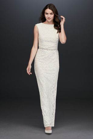 Lace Sheath Dress with Back Slit