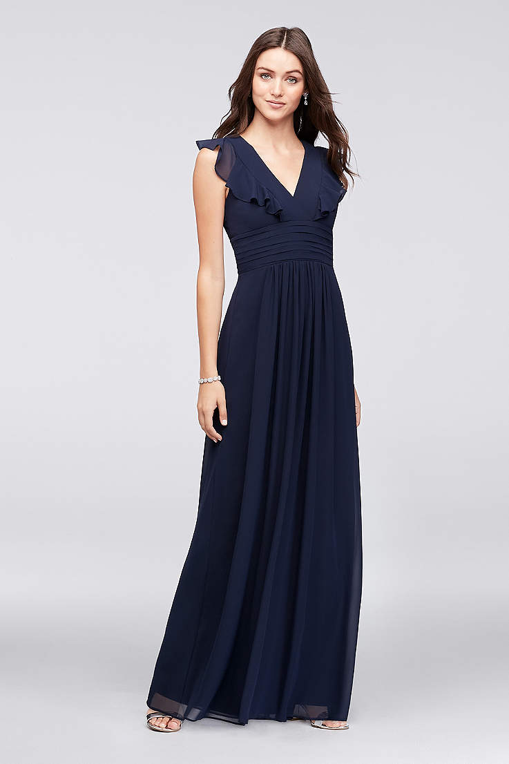 d0e059b7c9c Ruffle Sleeve Open Back Chiffon Bridesmaid Dress