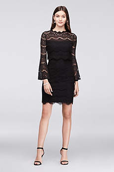 Bell-Sleeve Short Lace Dress with Illusion Waist