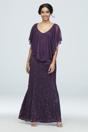 Long Sheath Capelet Dress - Marina