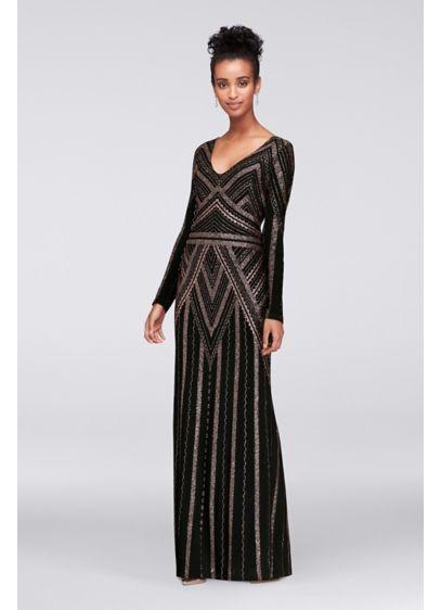 Long Sleeve Glitter Print Sheath Gown | David\'s Bridal