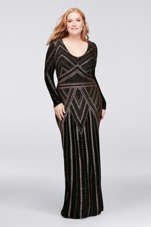 Long Sleeve Glitter Print Plus Size Sheath Gown
