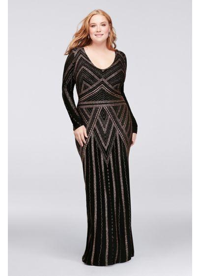 Long Sleeve Glitter Print Plus Size Sheath Gown Davids Bridal