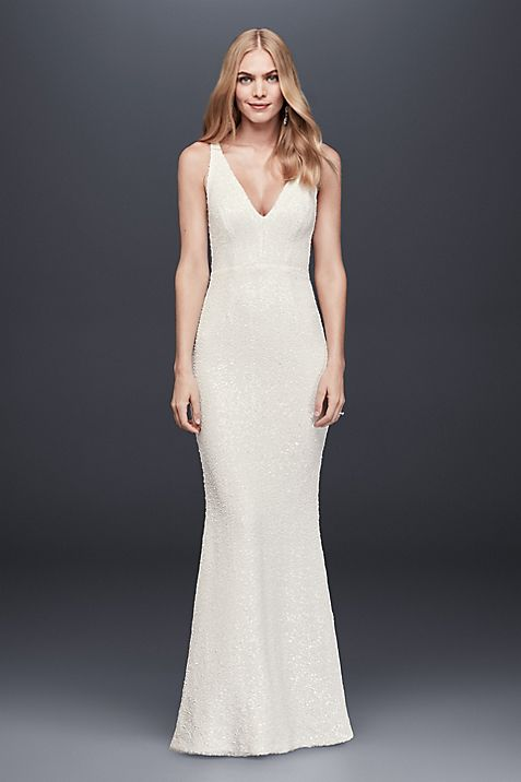 Allover Sequined V-Neck Sheath Gown | David\'s Bridal