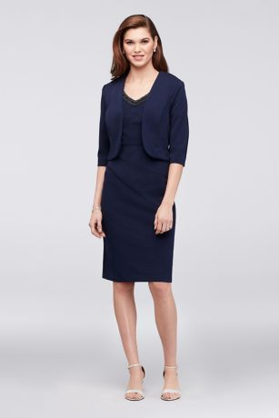 4b78618d861 Dress with Knit Jacket and Sunburst Seaming
