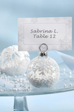 Flocked Glass Snowflake Place Card Photo Holders