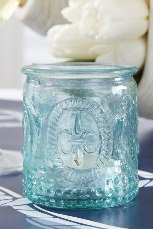 Vintage-Inspired Blue Glass Tea Light Holders