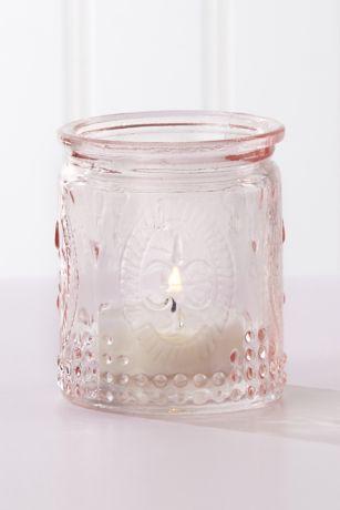 Vintage Pink Glass Tea Light Holder Set of 8