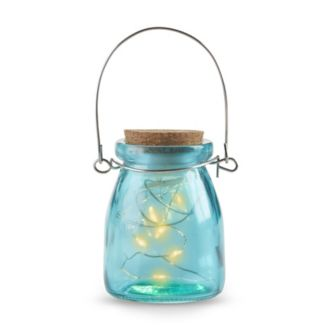 Hanging Blue Jar With Fairy Lights Set of 4