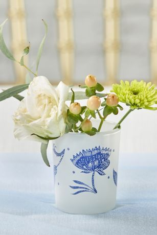 Blue Willow Frosted Glass Votive Set