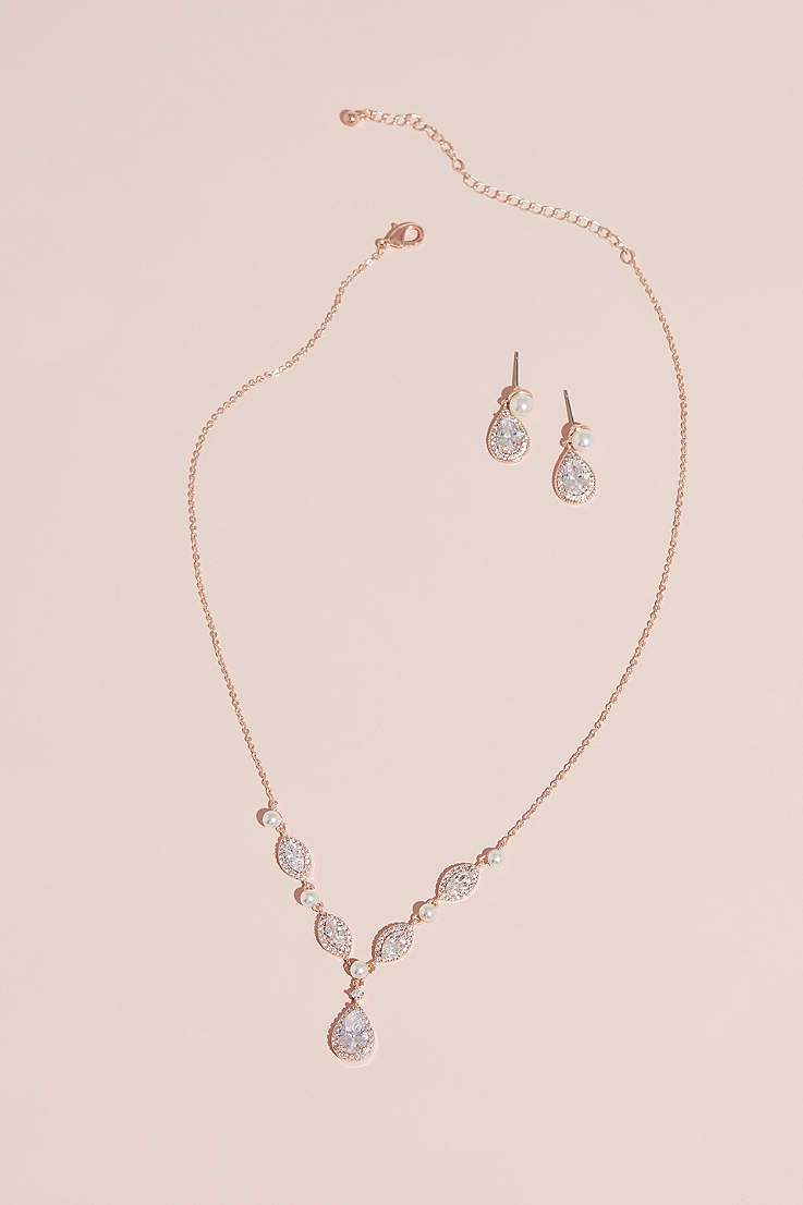 f2b703aec97fa4 Cubic Zirconia and Pearl Necklace and Earring Set