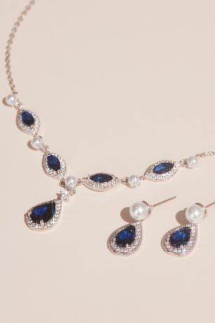 Cubic Zirconia and Pearl Necklace and Earring Set
