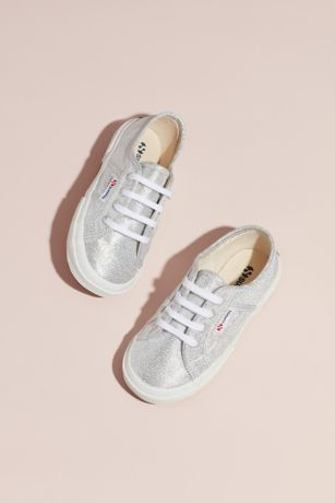 Superga White Flowergirl Shoes (Girls Superga Lamej 2750 Canvas Sneakers)