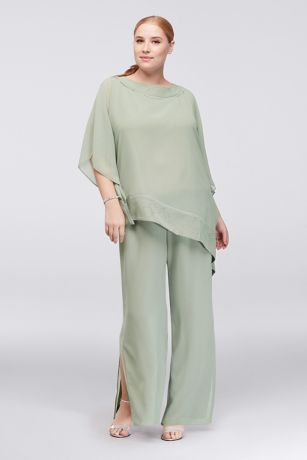 Asymmetric Top Plus Size Pantsuit
