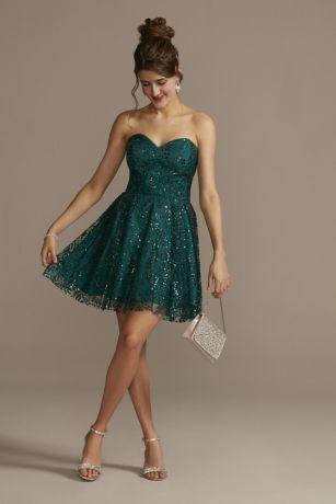 Short A-Line Strapless Dress - Blondie Nites
