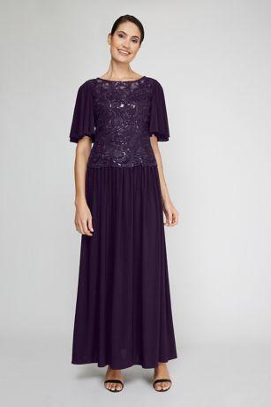 Flutter Sleeve Sequin Lace Flowy Dress
