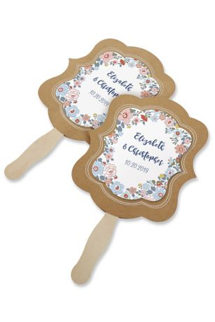 Personalized Floral Print Kraft Hand Fan Set of 12