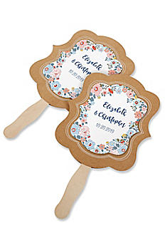 Personalized Floral Print Kraft Hand Fan Set of 12 28204NA-DBF