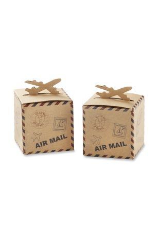 Airplane Kraft Favor Box Set of 24
