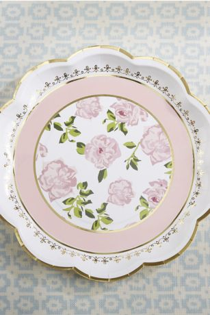 Tea Time 9-Inch Paper Plates with Gold Rim