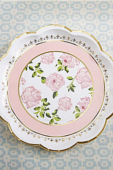 Tea Time 9-Inch Paper Plates with Gold Rim 28310